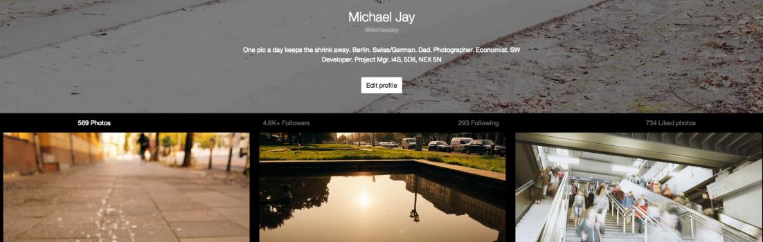 Mein Profil bei der Mobile Community EyeEm