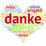 German Danke - Heart shaped word cloud thanks, on white