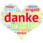 German Danke - Heart shaped word cloud thanks, on white